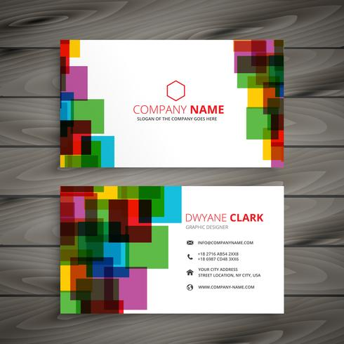 colorful squares business card template vector design illustrati