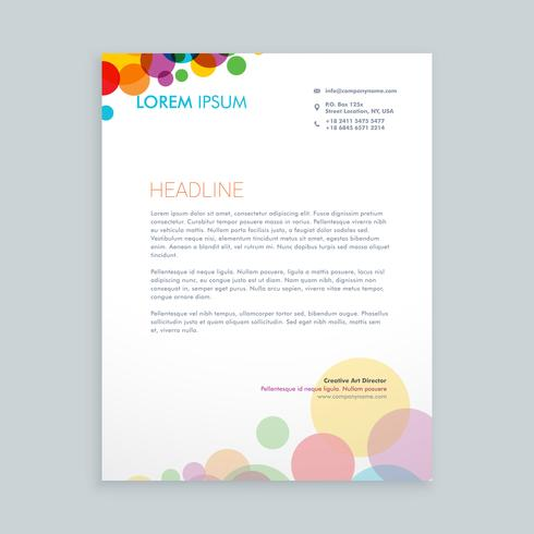 creative colorful circles letterhead  template vector design ill