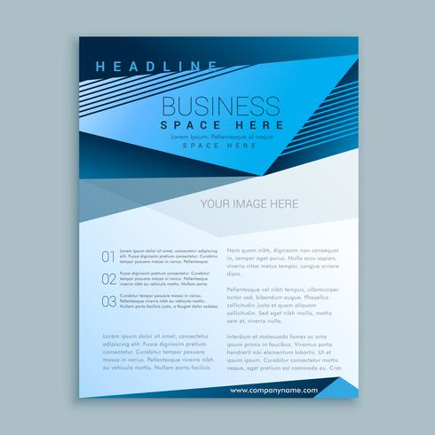 blue brochure flyer poster vector design template