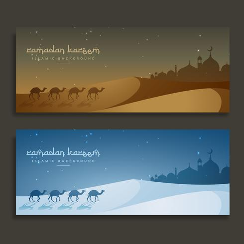 ramadan kareem islamic banners with camels and mosque