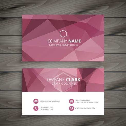 pink abstract polygonal business card vector design illustration