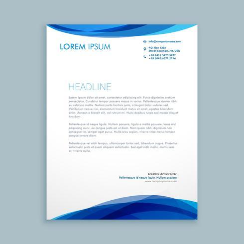 wave style modern letterhead template vector design illustration