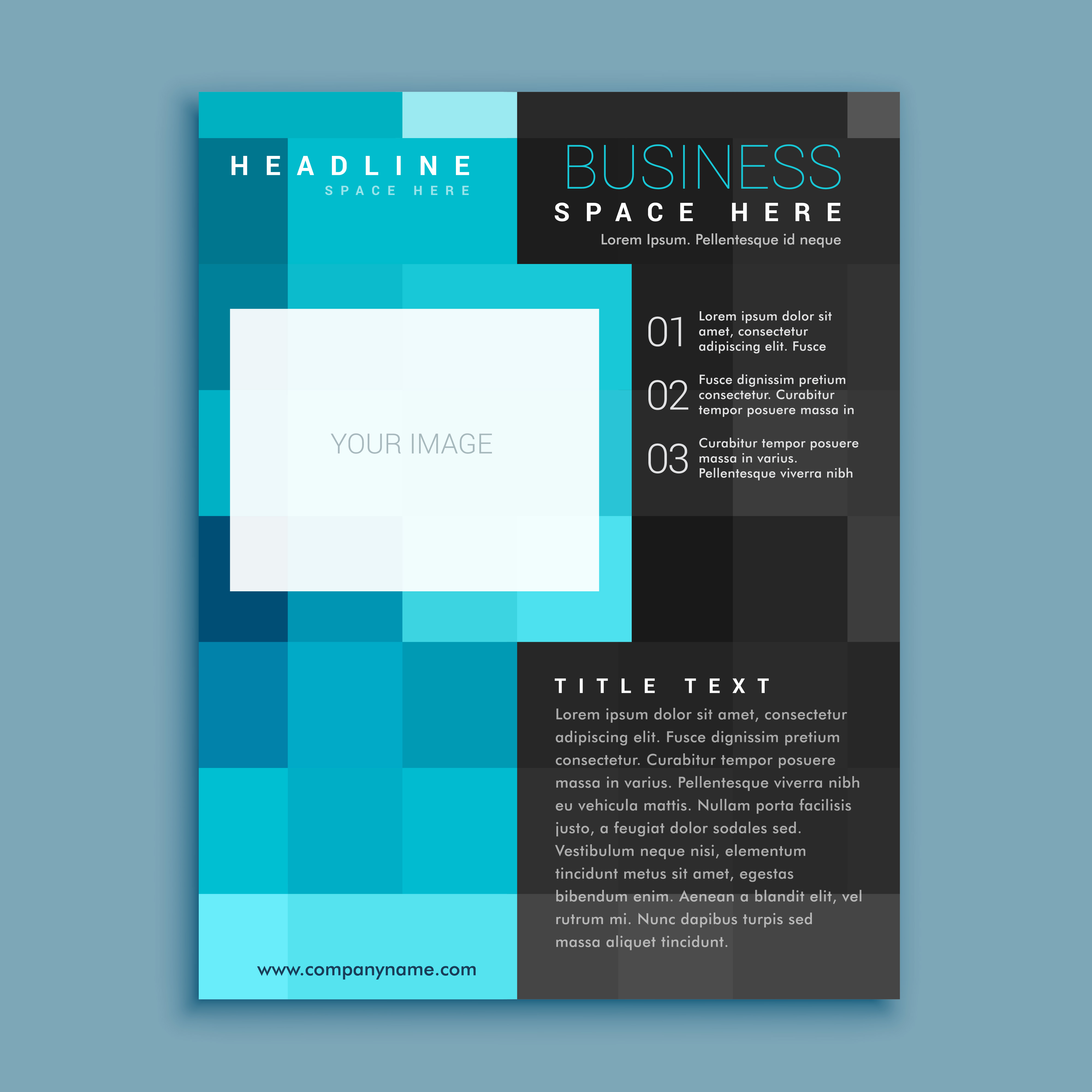 creative blue square geometric business brochure flyer