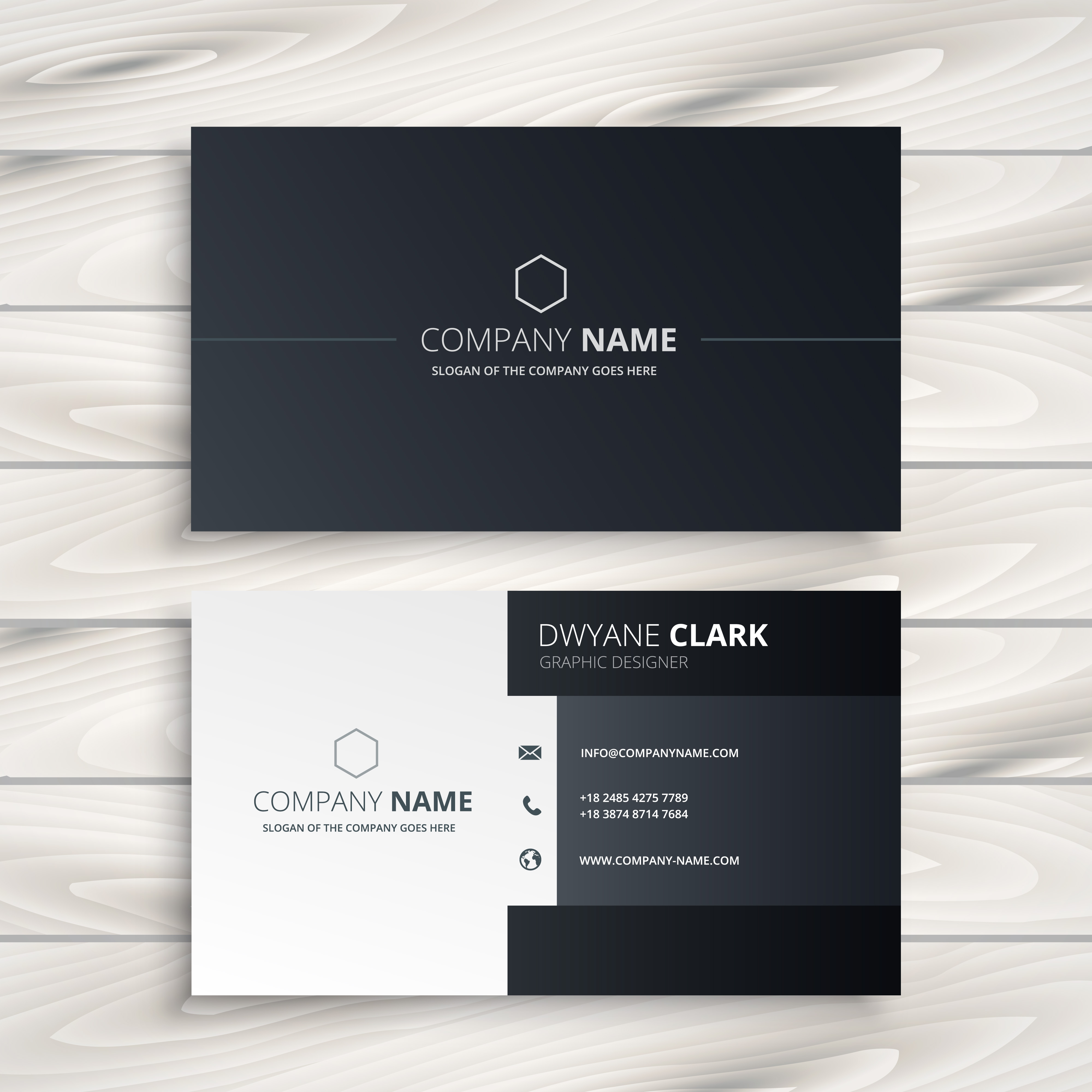 Black and white business card vector design illustration for Black and white business card design