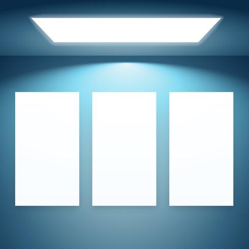 three presentation fram with lights