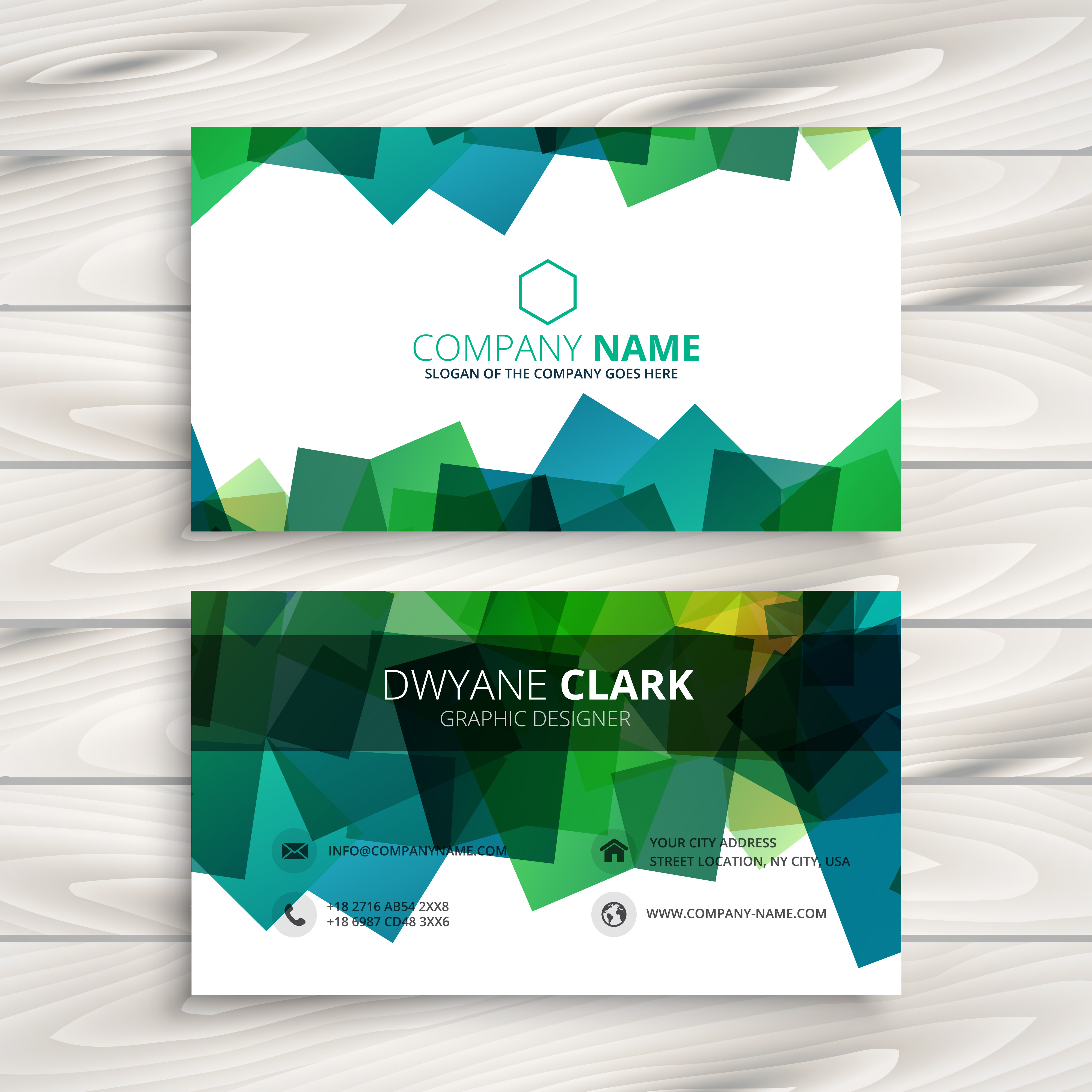 Blue Corporate Stationary Pack By Betty Design: Modern Business Card With Abstract Shapes Template Vector