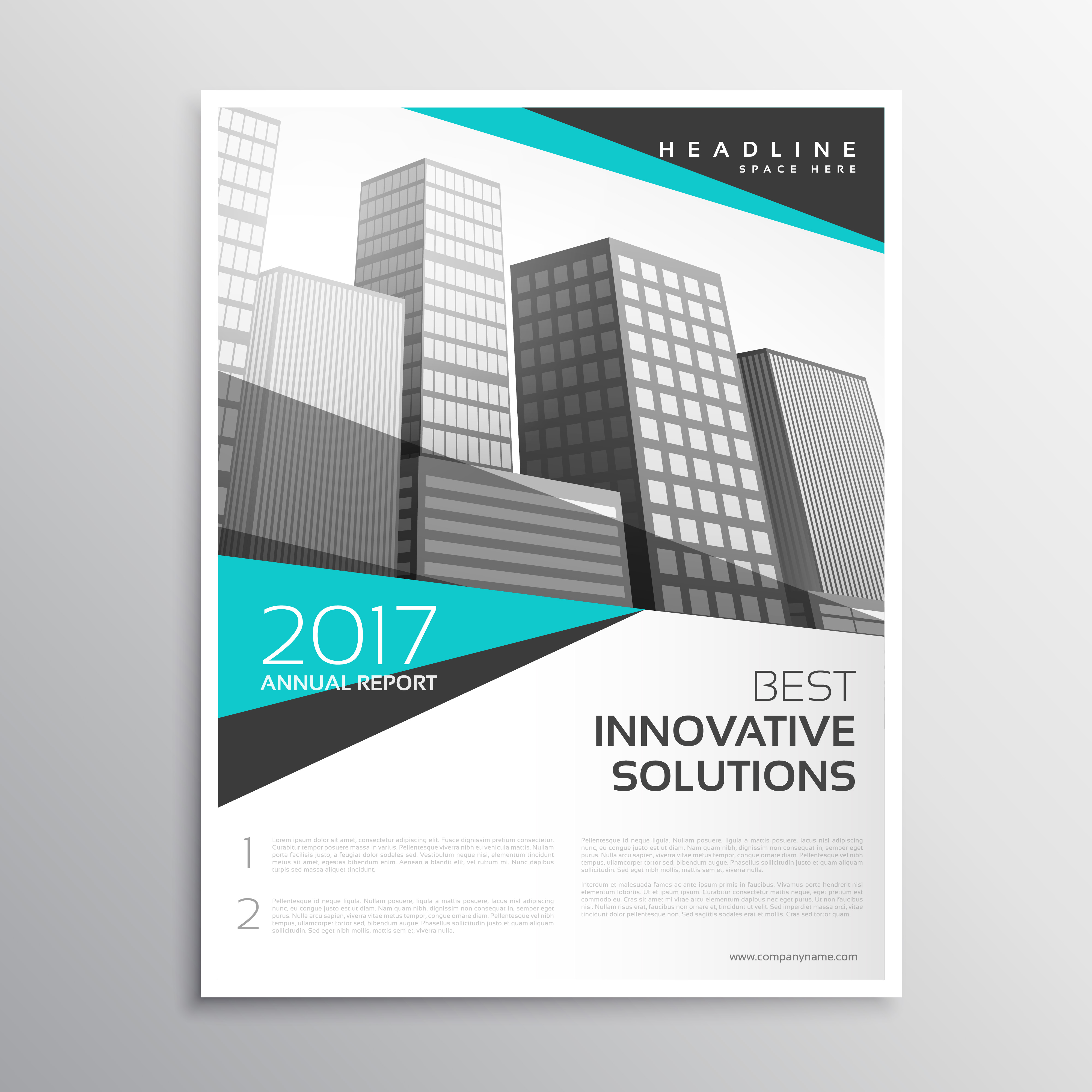 Modern white and blue brochure annual report cover for Brochure cover page templates free download