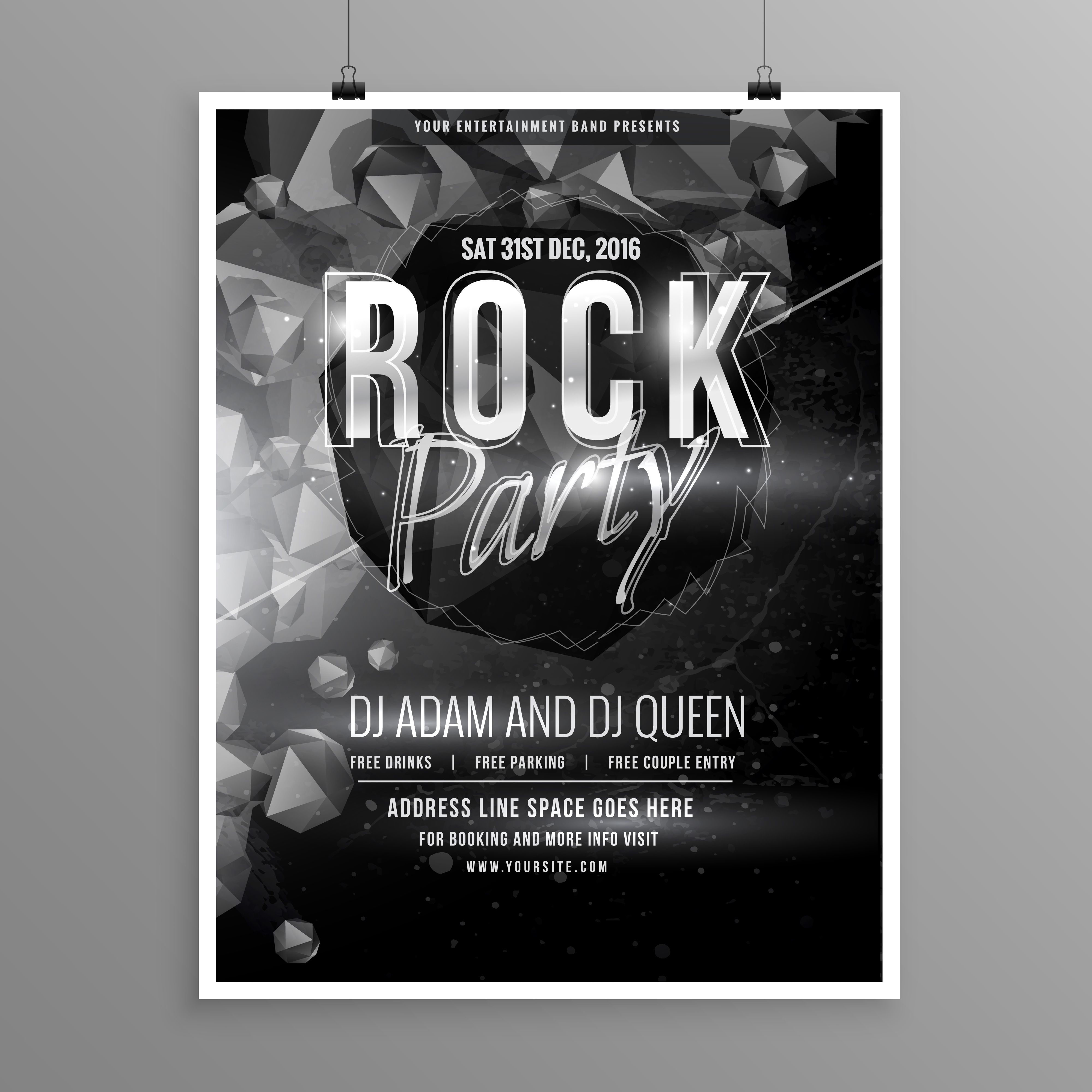 Black Rock Music Party Flyer Poster Template Download