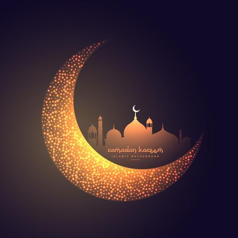 vacker måne och moské design