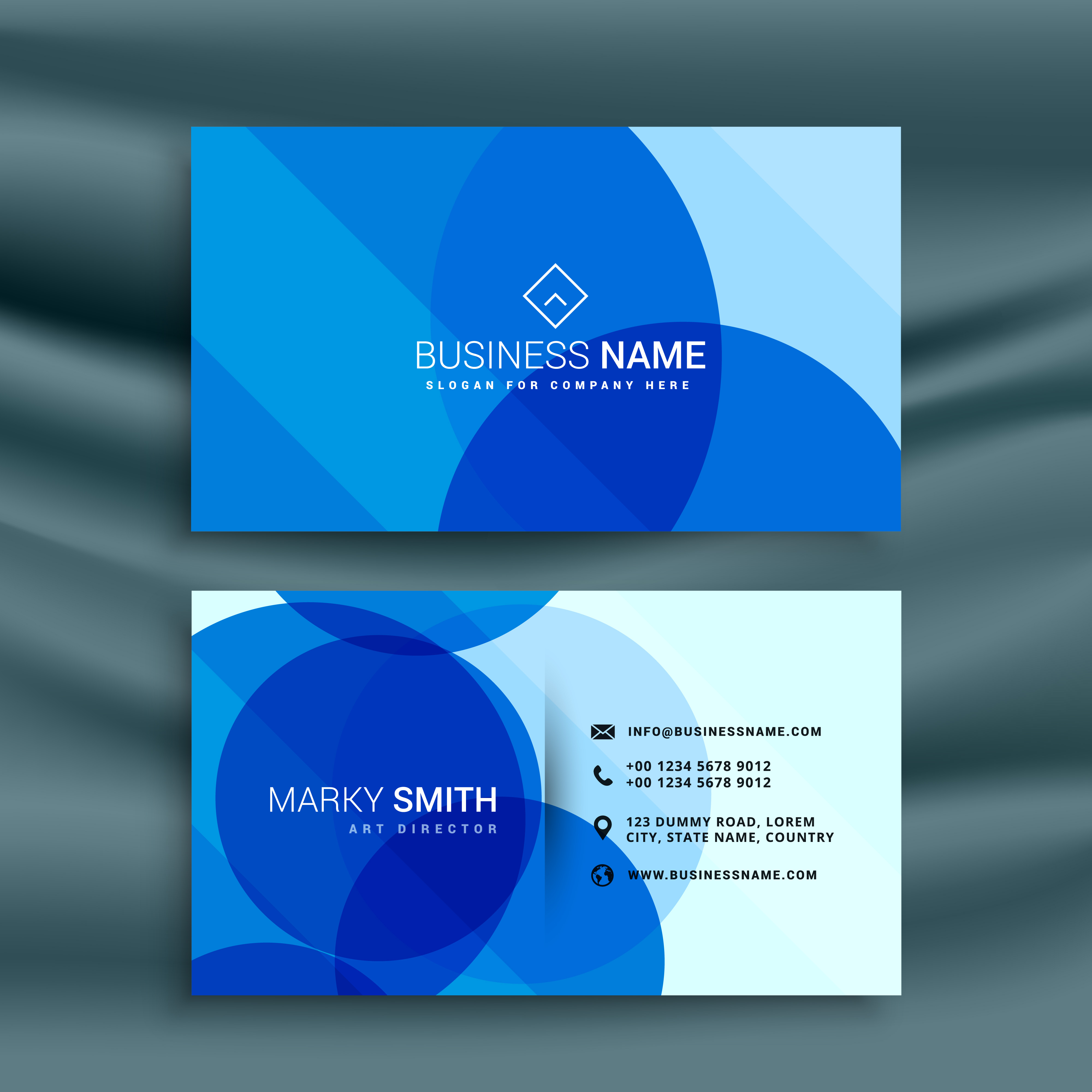 Business: Abstract Blue Business Card Design Template