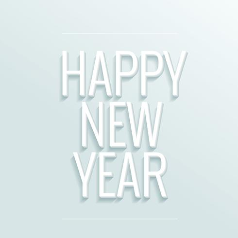 happy new year greeting in white