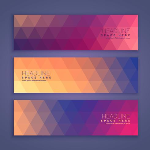 abstract geometric shape banners set