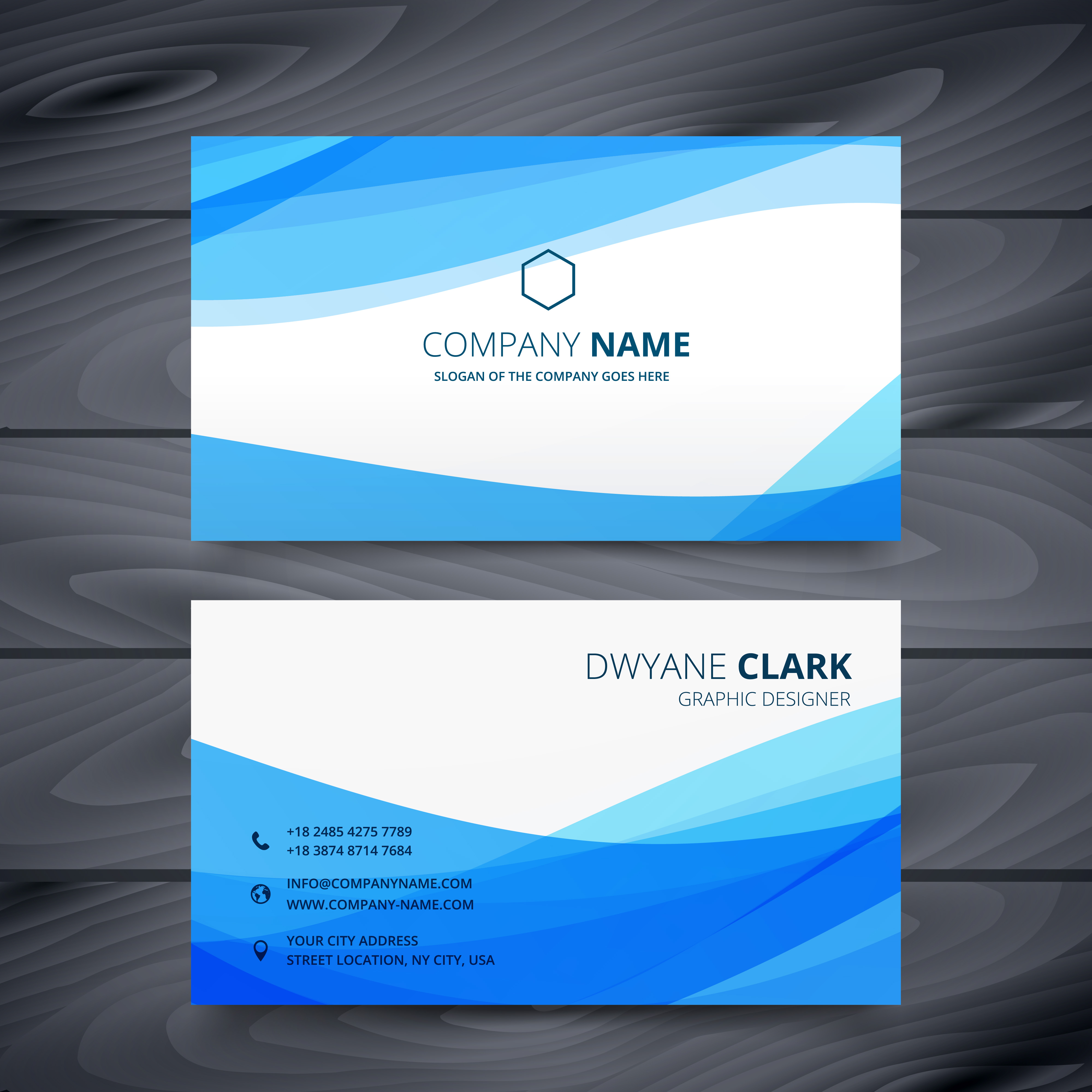 clean blue modern business card template design - Download ...