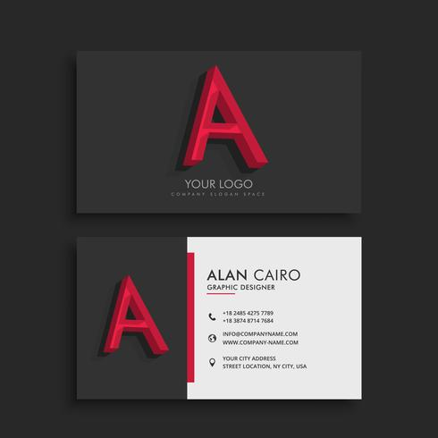 clean dark business card with letter A