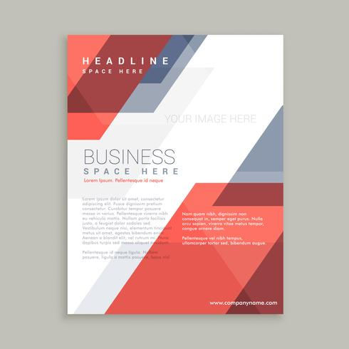 red blue geometric shape business flyer design