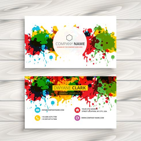 abstract colorful grunge ink splash business card template vecto