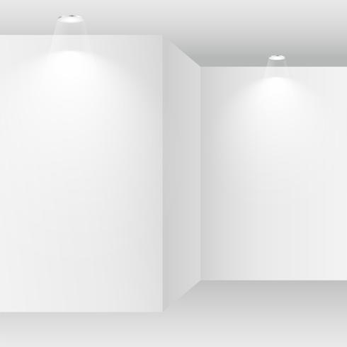 empty white room with spot lights