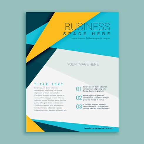 blue and yellow geometric brochure flyer design template