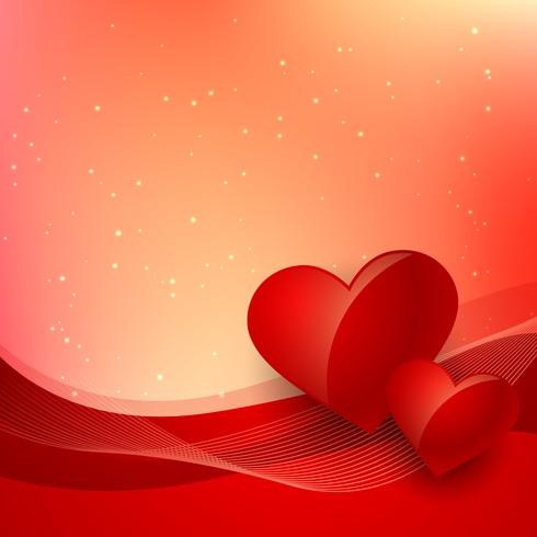 love background with beautiful red wave vector design illustrati