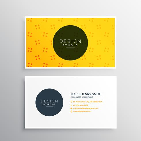 elegant business card with bright yellow color
