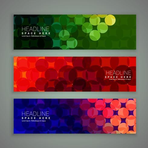 Design de conjunto de banners abstratos feito com círculos