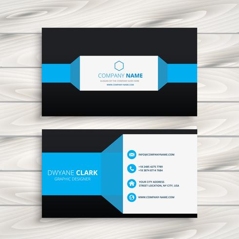 blaue schwarze Visitenkartevektor-Designillustration