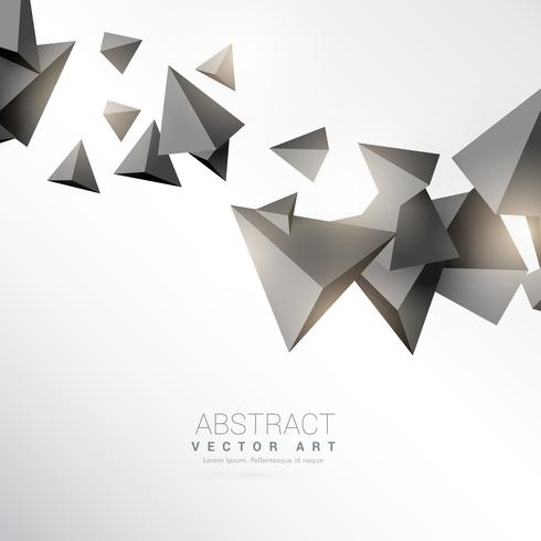3d triangles shapes floating on white background