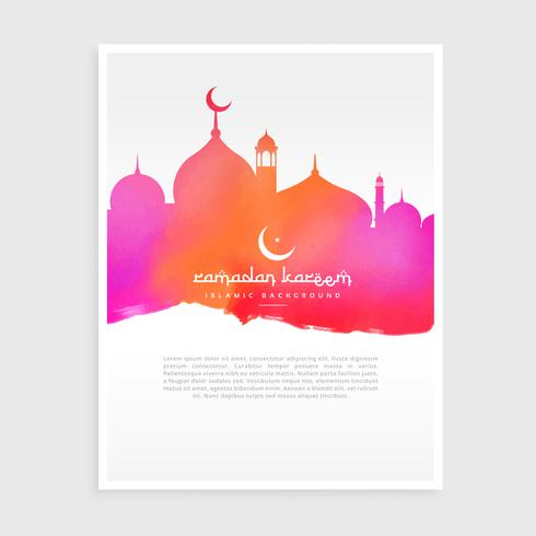 ramadan flyer with mosque in colorful watercolor ink style
