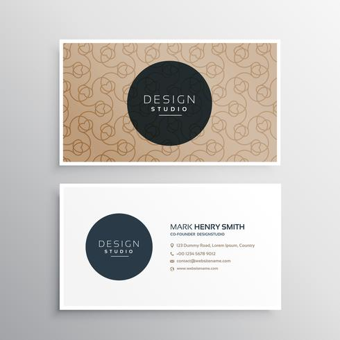 elegant business card in brown color with line pattern