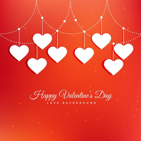 happy valentines day greeting with hearts vector design illustra