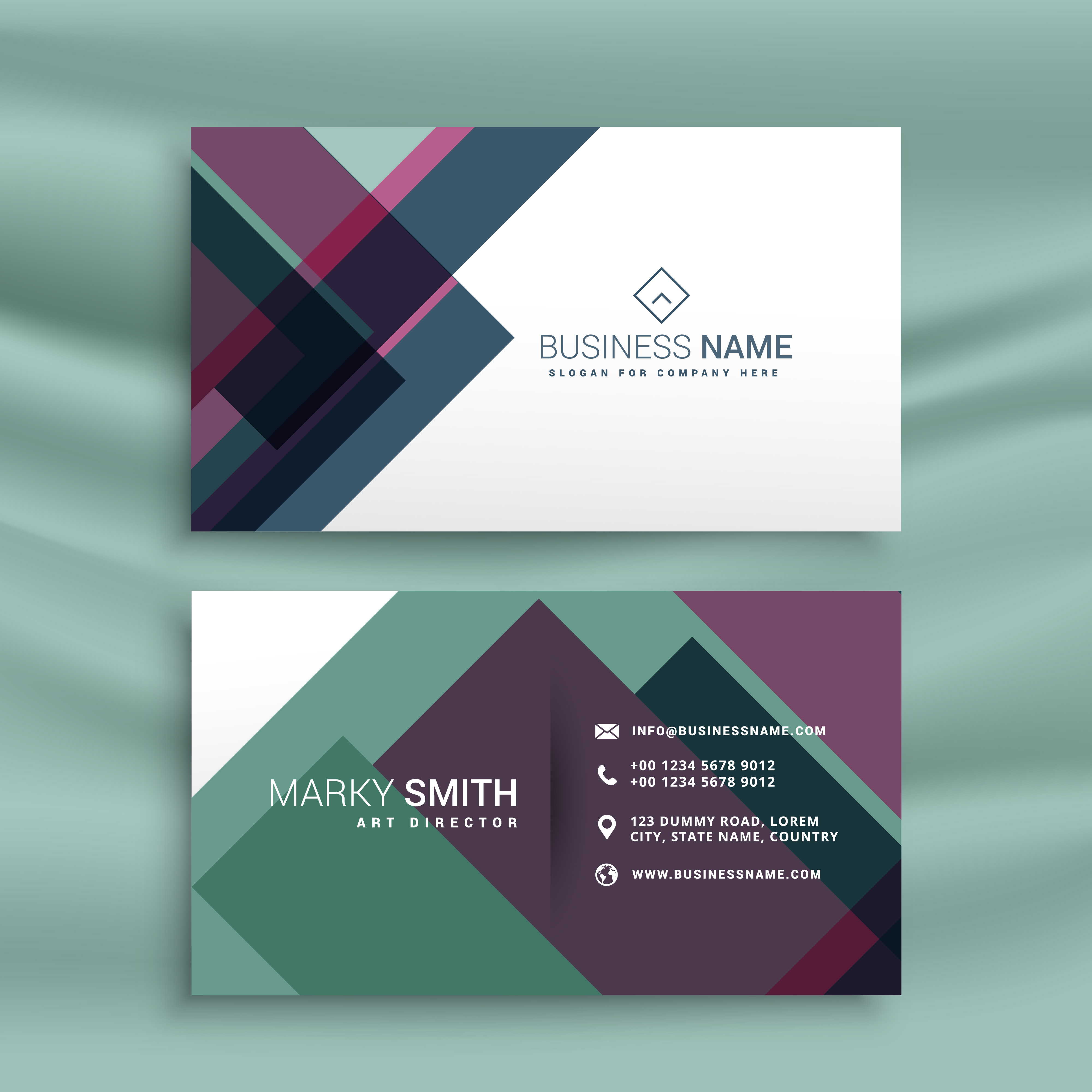 Powerpoint Business Card Templates Free: Business Card Presentation Template With Abstract Colorful