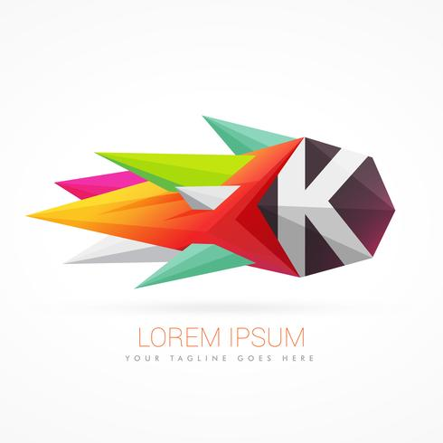 colorful abstract logo with letter K
