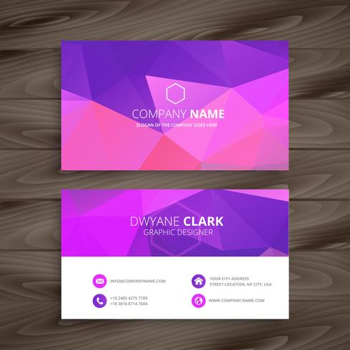 purple business card with abstract shape template vector design