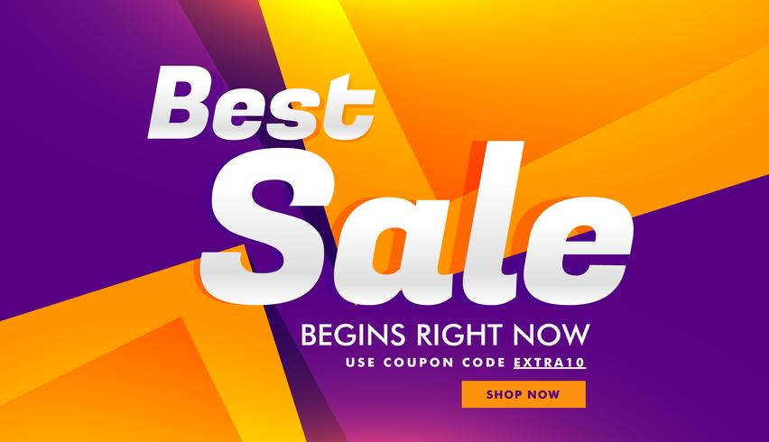 Melhor desconto de venda e design de modelo de voucher de banner publicitário