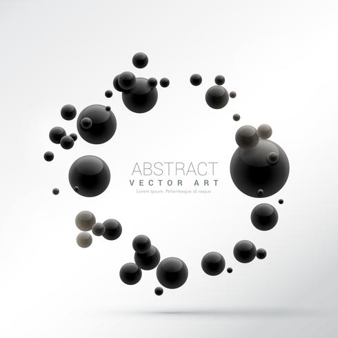 black 3d spheres frame background