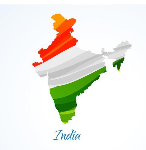 kaart van India met tricolor vector ontwerp illustratie