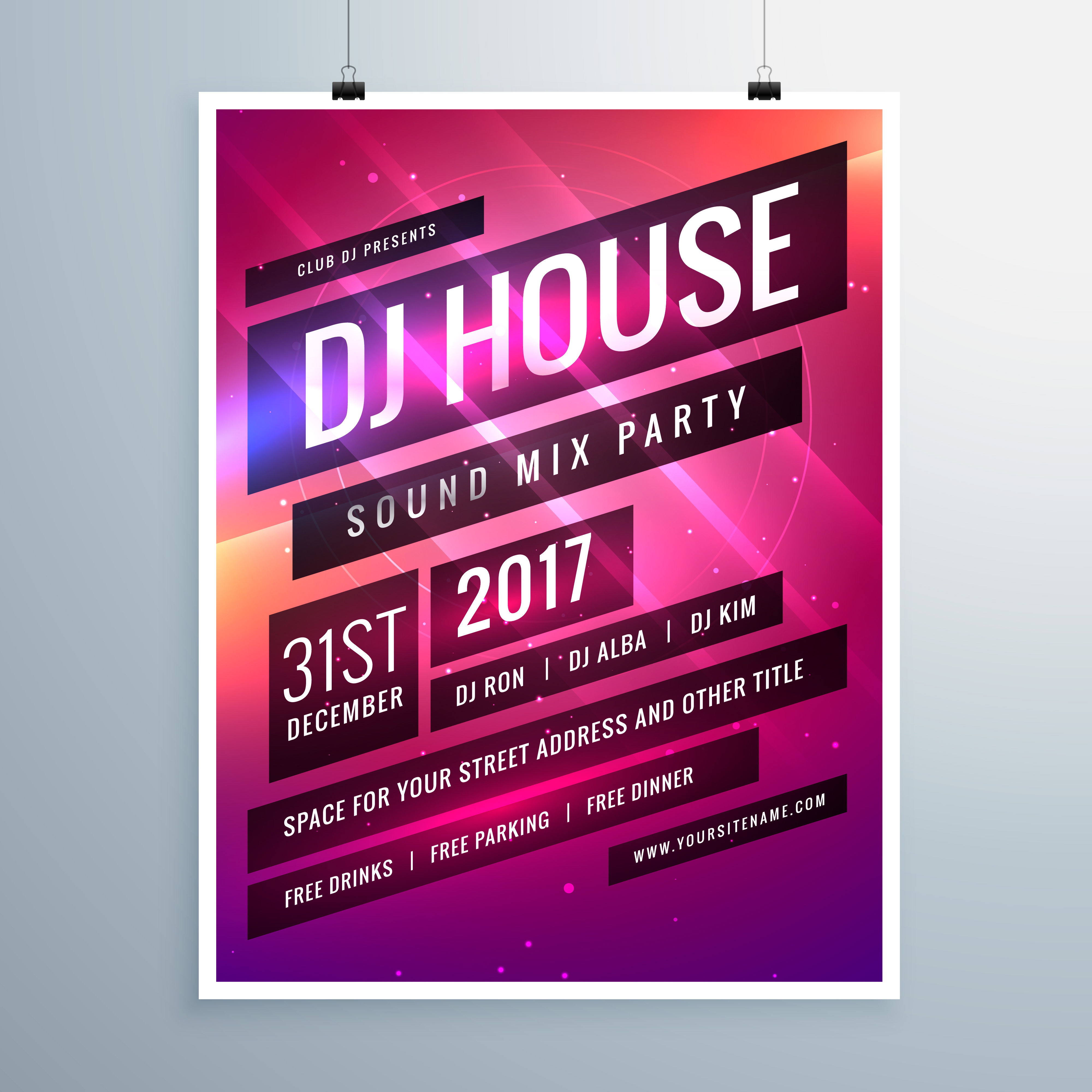 music sound party event flyer template in abstract pink backgrou ...
