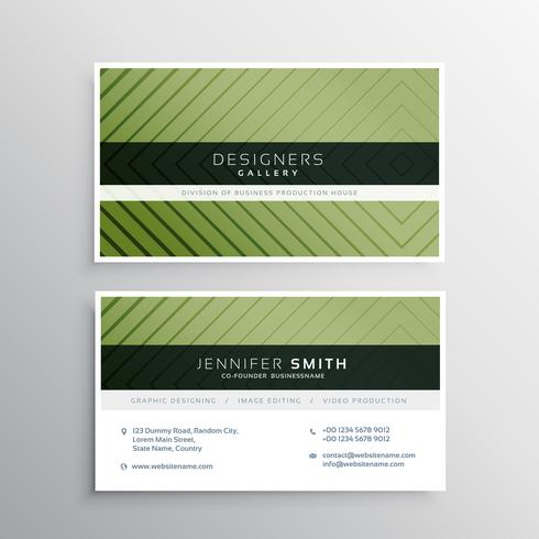 modern green business card with line pattern