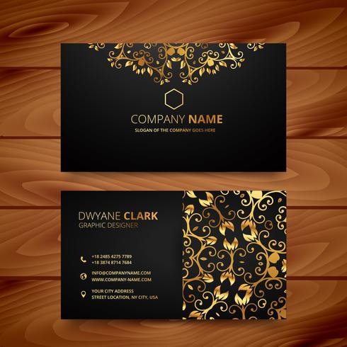 stylish golden premium luxury business card template design