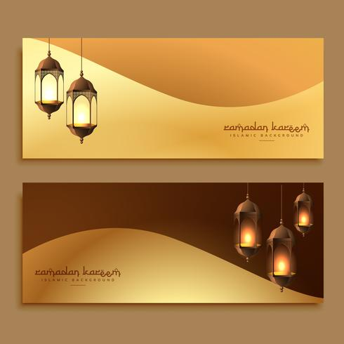 beautiful golden ramadan banners with hanging lamps