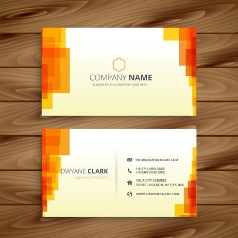 orange pixilated business card template vector design illustrati