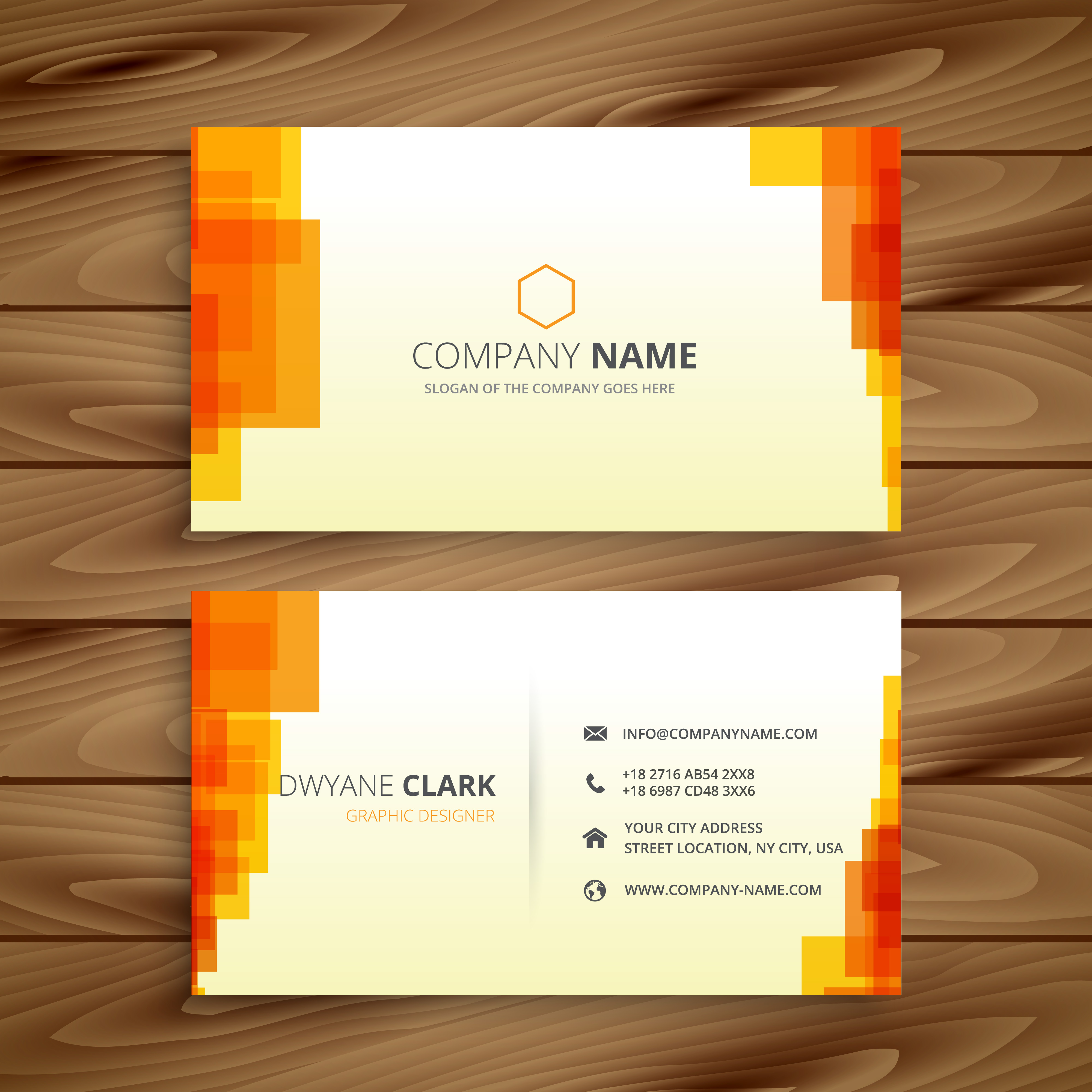 Blue Corporate Stationary Pack By Betty Design: Orange Pixilated Business Card Template Vector Design