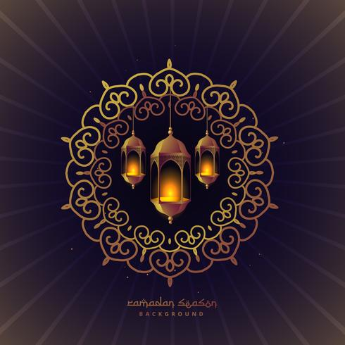 ramadan festival lamps in floral frame