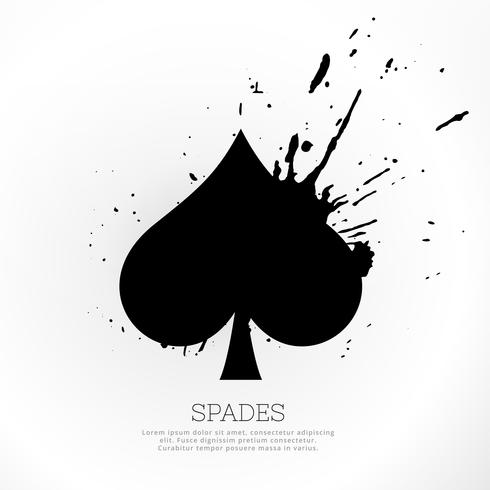 spades symbol with ink splatter
