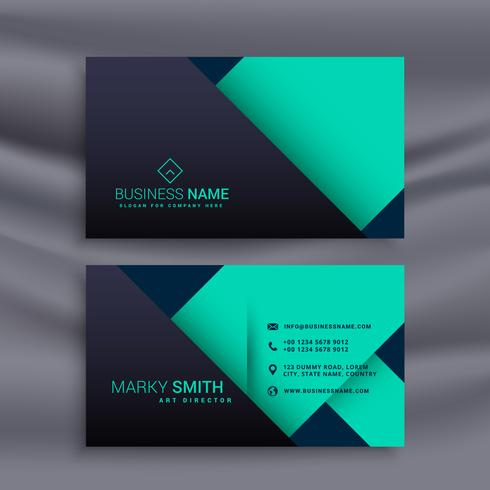 blue business card design in minimal style