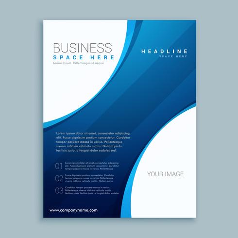 blue brochure template with curve lines
