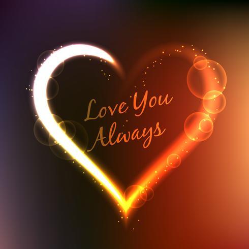 love you always written inside heart vector design illustration