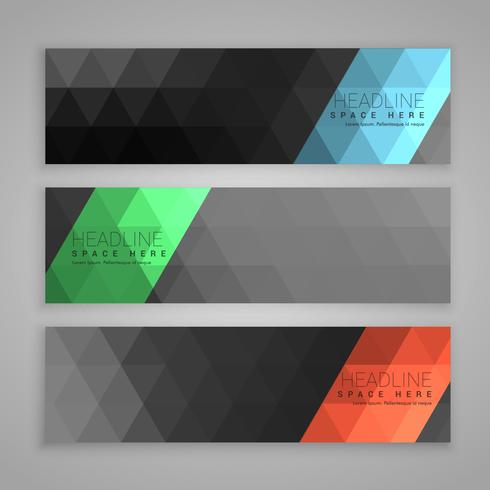 abstract dark set of three web banners