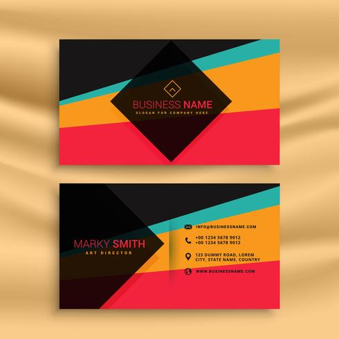 vector abstract business card design with funky colors