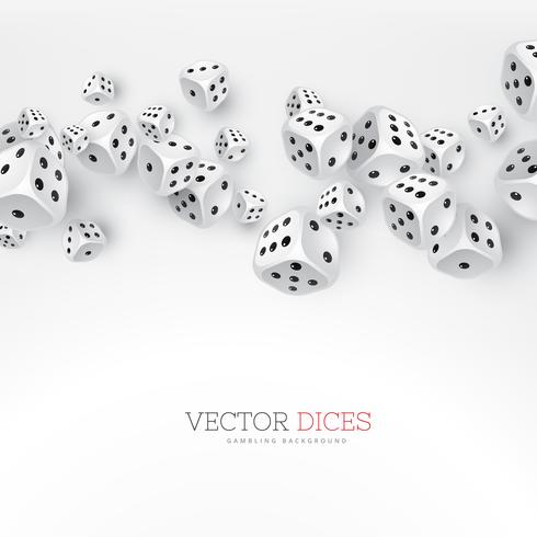 dice floating on white background
